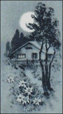 Cottage in Moonlight - Click Image to Close