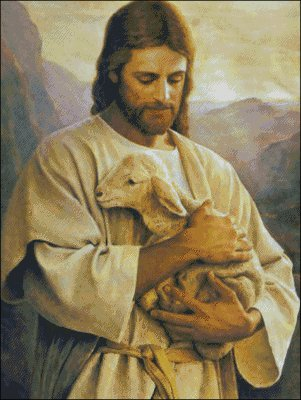 Jesus with Lamb - Large - Click Image to Close